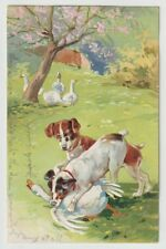 1908 Postmarked Postcard Painting Hunting Dogs chasing and catching Geese