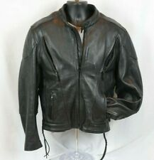 Xelement Thick Black Buffalo Leather Jacket Zip Out Liner Conceal Carry Padded