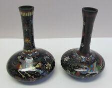 Fine Pair of JAPANESE MEIJI-ERA Cloisonne Vases  Phoenix & Duck c. 1890  antique