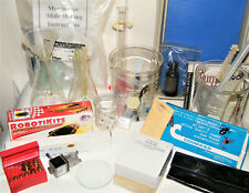 Huge CHEMISTRY~SCIENCE LAB LOT Beakers~Slides~Scales~Brass Weights~Tools Most EX