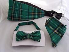 DD>Tartan-Green/Black Polyester Bow Tie + Cummerbund & Hanky Set>P&P2UK>1st Clas