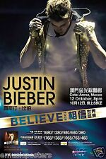 "JUSTIN BIEBER ""BELIEVE TOUR"" 2013 MACAO, CHINA CONCERT TOUR POSTER-Pop, Teen Pop"