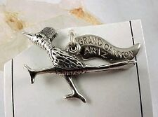 New Old Stock Sterling ROADRUNNER BIRD Charm - GRAND CANYON, ARIZONA Tag
