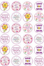 24 Happy Mothers Day Mum Cupcake Fairy Cake Toppers Edible Rice Wafer Paper