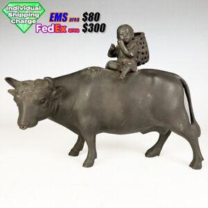 Dg397 Japanese Antiques BOKUDO COWBOY BRONZE STATUE marked 勝彦 Katsuhiko signed