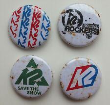 4 X Pins Button Badges K2 Snowboard Ski Rar Sammler (T2T)