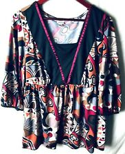 Venezia Women's 18 20 Blouse Multicolored 3/4 Sleeves Silky Polyester Spandex