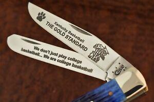 CASE XX USA BLUE BONE KENTUCKY BASKETBALL TRAPPER KNIFE 6254 SS 2014 NICE (9760)