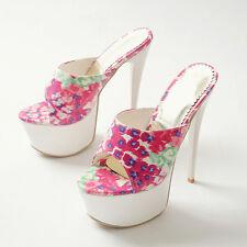 Chic Women's floral over high heel shoes stilettos slip on platform party mules