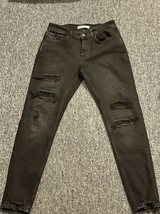 Mens Zara 90s Cropped Black Jeans Size 40 Distressed Ripped