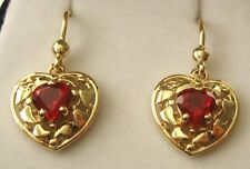 GENUINE SOLID 9K 9ct YELLOW GOLD LOVE HEART RUBY DROP HOOK EARRINGS