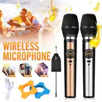 Dual Wireless Handheld Microphone System Speaker Mic Karaoke KTV UHF Receiver
