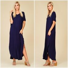 NEW Small Maxi Dress Navy Blue Cut Out Low Back Jersey Short Sleeve Oversized S