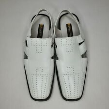 Stacy Adams Men Size 10.5M White Leather Dress Fisherman Sandals Casual Shoes