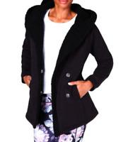 Ideology NWT $69 Black Winter Faux Fur Coat Jacket Outerwear Size M    FF70