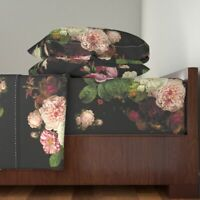 Pink Roses Pink Roses Dark Floral 100% Cotton Sateen Sheet Set by Roostery