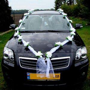 ORGANZA MAXI Auto Schmuck Braut Paar Rose Deko Dekoration hochzeit autoschmuck