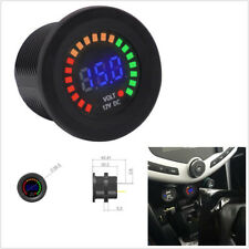 DC12V Mini Round Car SUV Boat Voltmeter Gauge With Colorful LED Digital Display