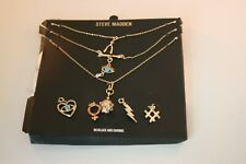Steve Madden silver tone Set of 3 necklaces with 7 interchangeable charms
