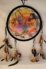 3D Beauty & Wolf Dream Catcher w feathers wall hanging decoration ornament-28""