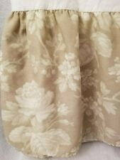 Thomaston Light Brown Beige Floral Design Bed Skirt Valance And Sham Size Queen