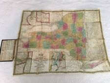1836 S Augustus Mitchell Travellers' Map of New York Hand-Tooled Leather FOLDING