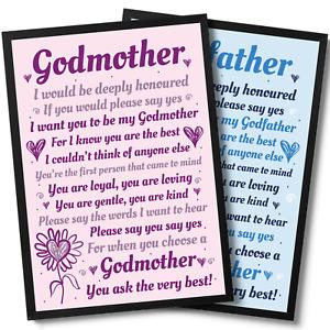Godmother Godfather Godparents Asking Gifts Framed Print Poem Baby Christening