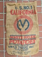 Vintage Americana Mesa Farms California White Rose Potatoes Burlap Sack