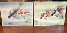 "PAIR Oriental Chinese Abstract Brush Painting Animals KOI FISH 11""x14"" Each Sign"