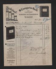 WOLMIRSTEDT, Rechnung 1921, W. Eisengarten Nachf. Buchbinderei Papierhandlung