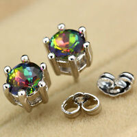 Silver Jewelry Princess Clear Rainbow Topaz Gemstone Round Ear Studs Earrings