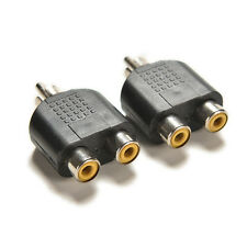 2x RCA Y Splitter Audio Video Plug Converter Cable Adapter 1 Male to 2 Fema XL
