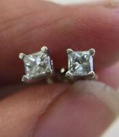 0.50 Ct Solitaire VVS1/D Diamond Earrings Princess Cut 14K White Gold Studs