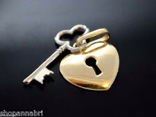 Heart and Key Pendant Two Piece 14k Gold Love Locket Charm Corazon Medalla