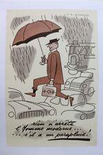 AFFICHE ANCIENNE SYNDICAT PARAPLUIE PARIS 1950 bus car autobus RENAULT TN 4CV