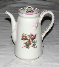 "Haviland Limoges H&C Moss Rose Smooth w Pink Trim Large 8.1/2"" Coffee Pot 1879"