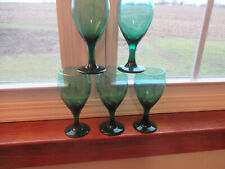 """Vintage Libbey Teal Green Wine /Water Goblet Glasses /Gold Rim 7"""" Tall lot of 5"""