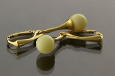 White Round Beads Genuine BALTIC AMBER Silver Gold Plated Earrings 3.3g e61108-3