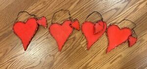 4 Wood Red Hearts