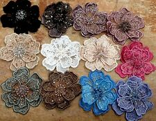 "EMBROIDERED 3-D APPLIQUE Layered Flowers 3.5"" Hand Sewn GLASS BEADS 1pc"