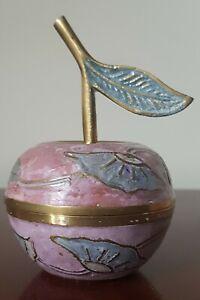 INDIAN BRASS Vintage enamelled 'apple' lidded trinket box. VGC.