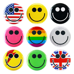 """1"""" (25mm) Happy Smile Face Button Badge Pins - Yellow Rainbow Pink Black"""