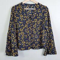 ZARA | Womens Floral Print Lace up detail Crop Top [ Size L or AU 14 / US 10 ]