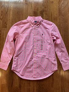 New Kids Boys Ralph Lauren Polo Blake Plaid Button Up Poplin Shirt Size M(10-12)