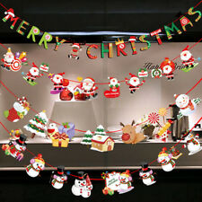 Christmas Party Decors Hanging Snowman Santa Claus Elk Sock Banner Xmas Supply~