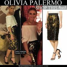 Olivia Palermo x Milly Midi Sequin Pencil Skirt in Gold Size 2