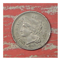 1866 THREE CENT NICKEL. COLLECTOR COIN FOR YOUR SET OR COLLECTION.