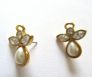 Avon Earrings- Angels-gold color- white pearl bead- clear stones- post back