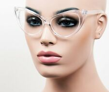 Large Cat Eye Glasses Retro Pinup Vintage Style Clear Lens Crystal K77C2