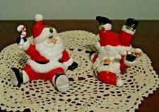 """Vintage Fitz and Floyd Oci Tumbling Santa Figurines Set of 2 1987 3.5"""" H"""